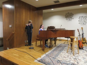 Amanda Bohnhoff (flute) and Zoe Lark (Piano and Vocal) perform together